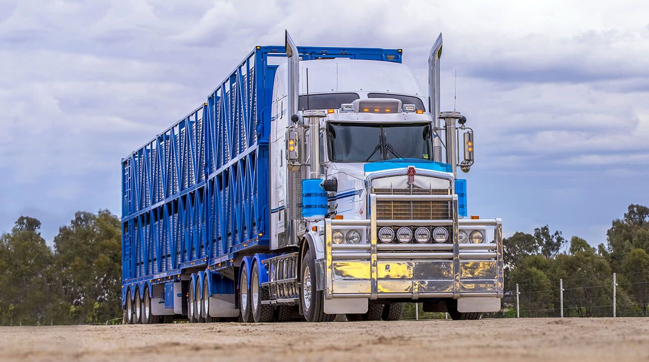 Road train long haul truck with Silver Ultima 215 MK2 LED driving lights on chrome bull bar